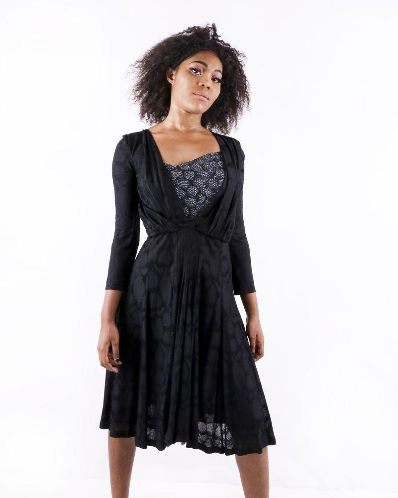 Robe tailleur noir drapé à motifs fantaisies Cavalli