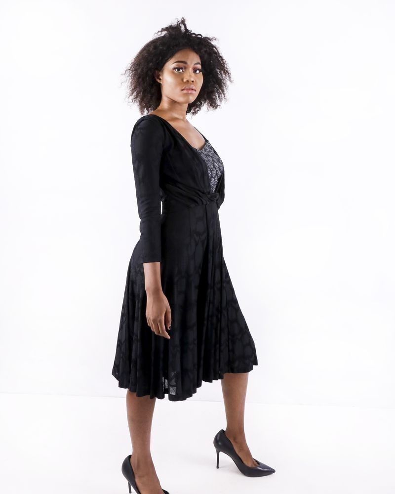 Robe tailleur noir drapé à motifs fantaisies Roberto Cavalli