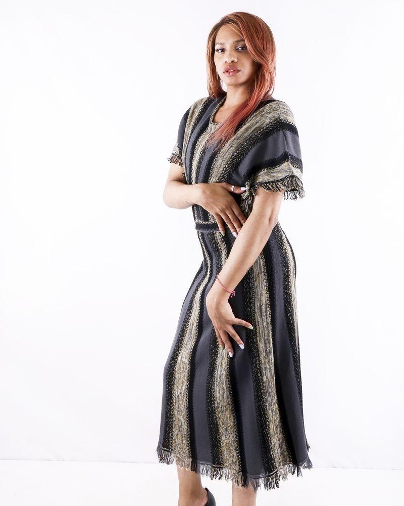 Robe chauve souris en laine grise rayé Missoni