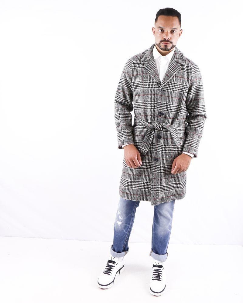 Manteau en laine gris à carreaux Editions M.R