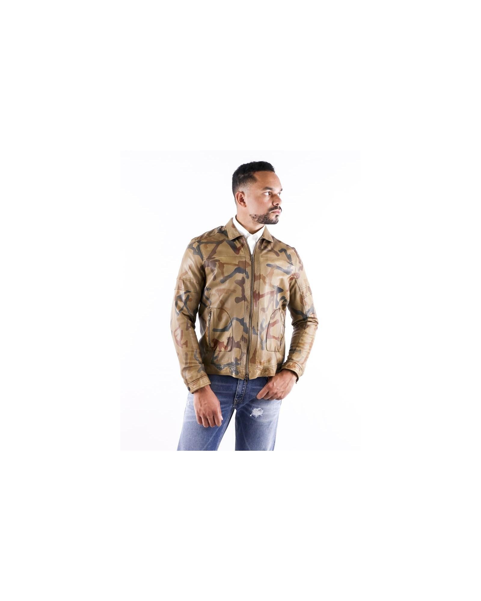 Veste en cuir camel à imprimé camouflage Archives