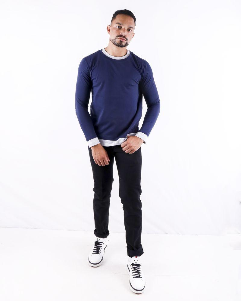 T shirt bicolore à effet superposé Woolgroup