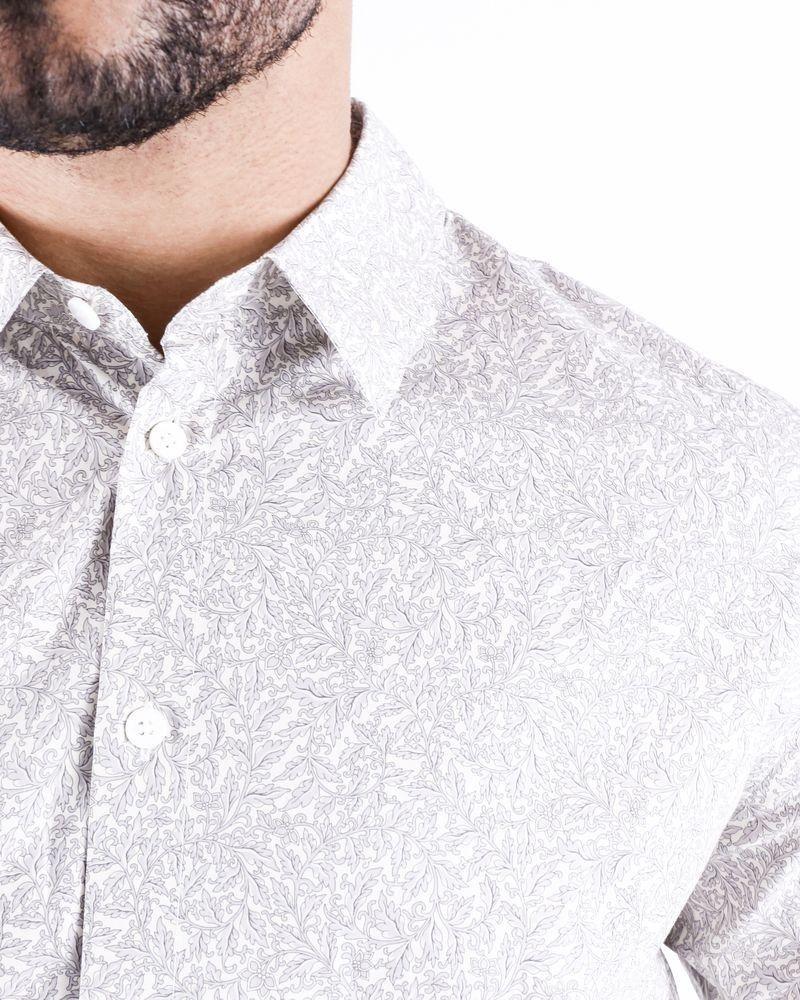 Chemise en coton beige à imprimé baroque Editions M.R