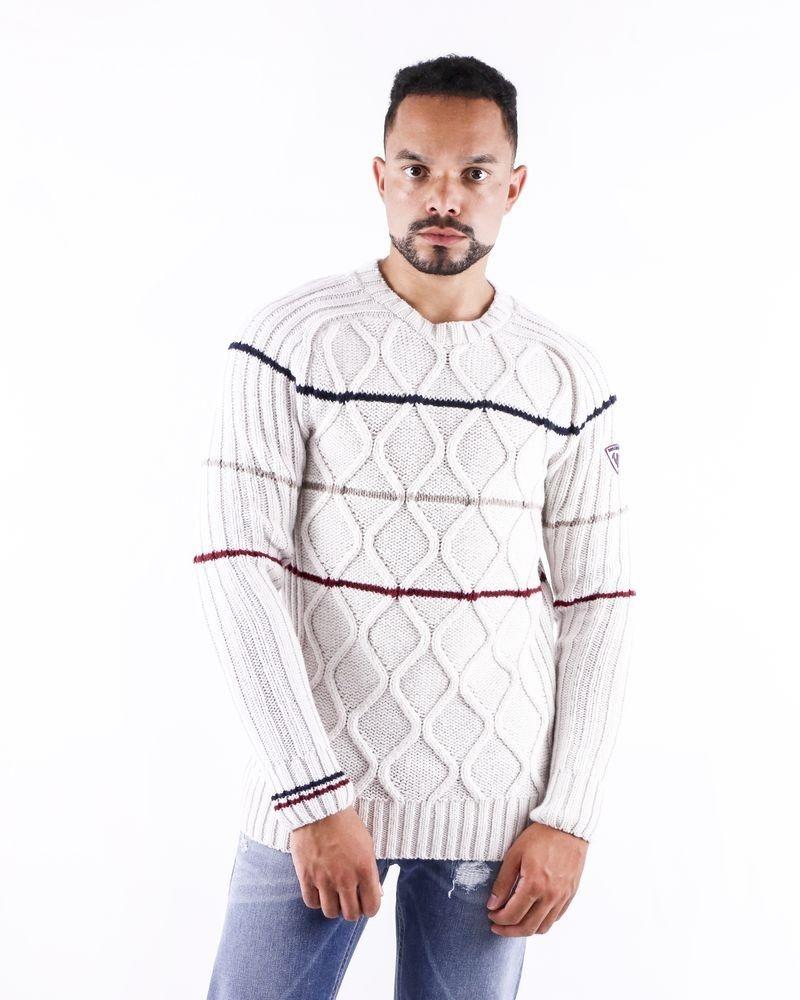 Pull en laine gris à motifs tressés Rossignol