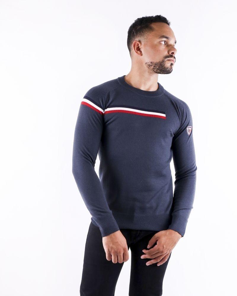 Pull en laine bleu à rayures tricolores Rossignol