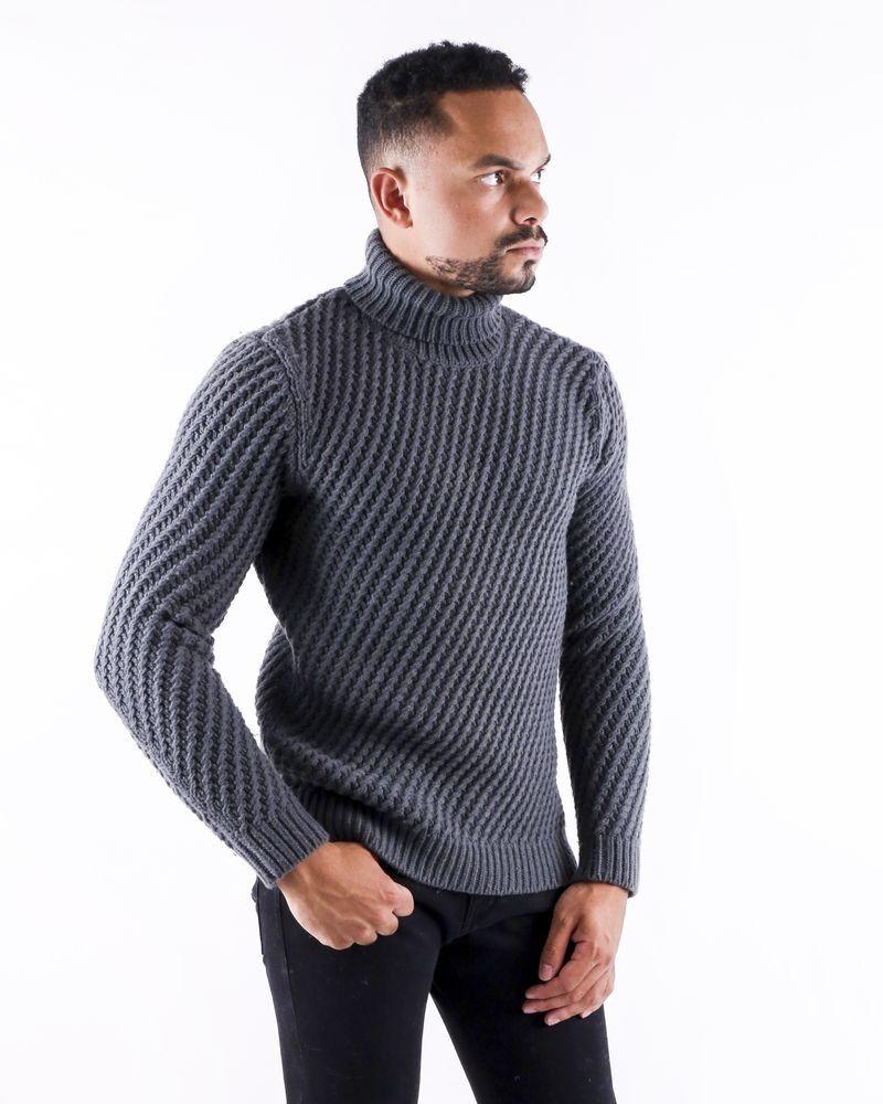 Pull en laine grise à motif tressé Lab