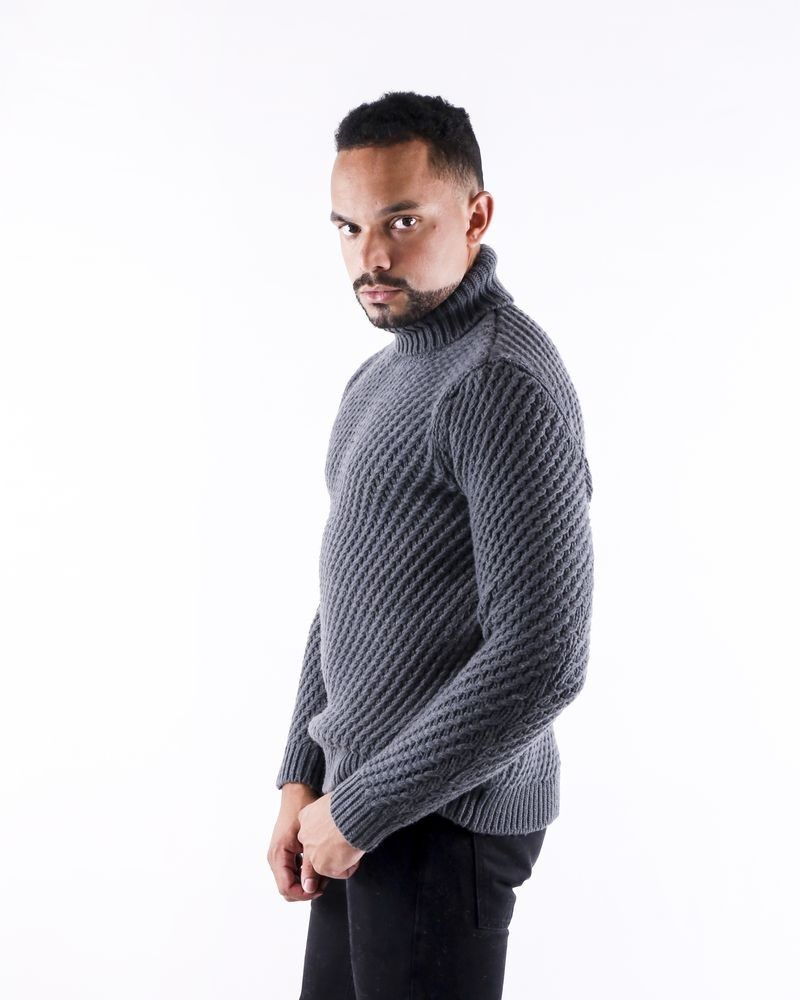 Pull en laine grise à motif tressé Pal Zileri