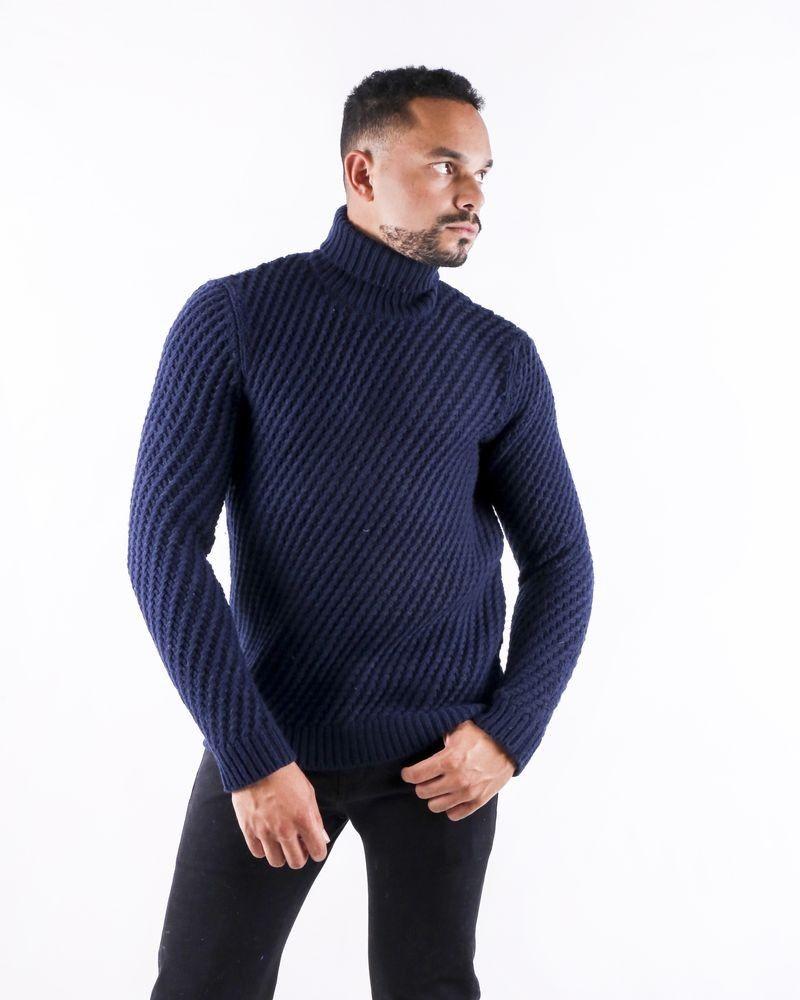 Pull en laine bleue à motif tressé Lab