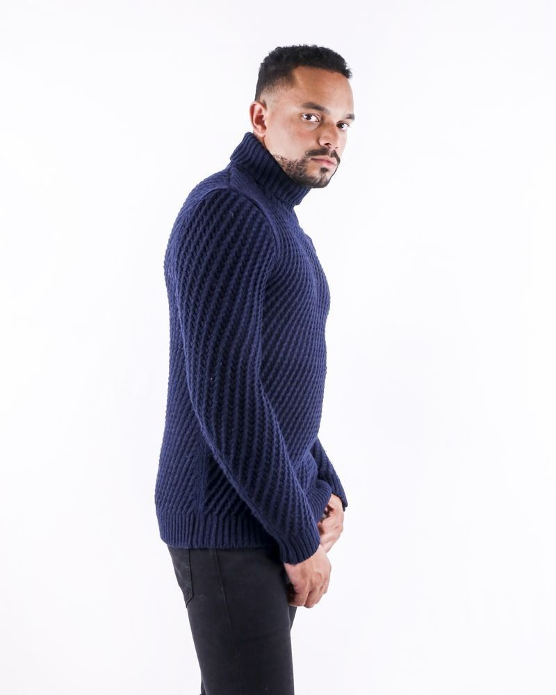 Pull en laine bleu à motif tressé Pal Zileri
