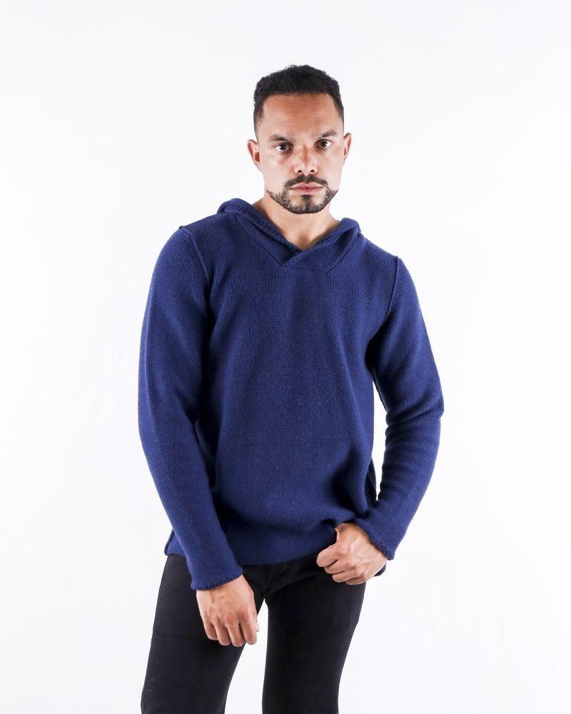 Pull en laine à capuche bleu Casheart