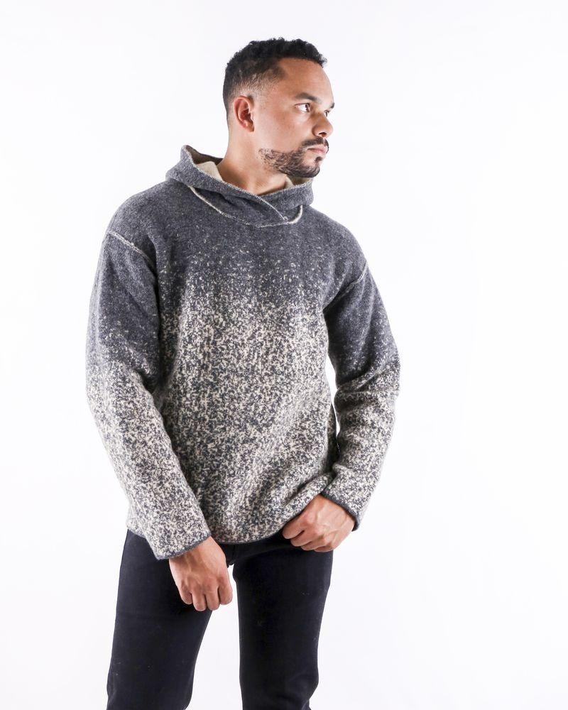Pull en laine bicolore à capuche Isabel Benenato