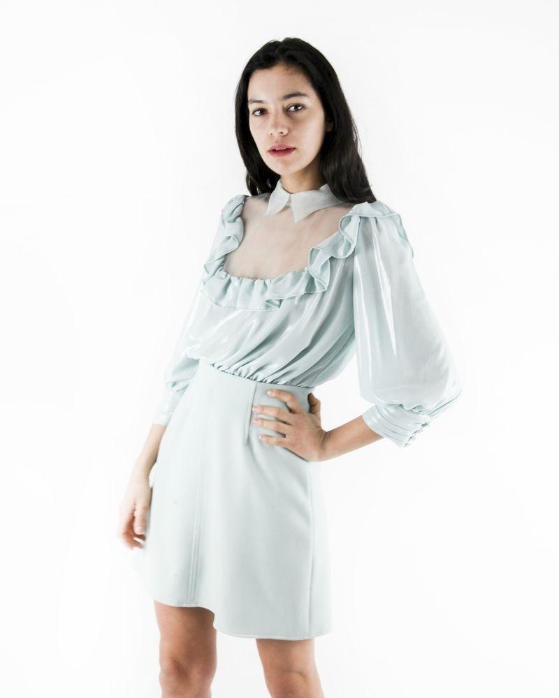 Robe courte amovible en mousseline lamé bleu Elisabetta Franchi