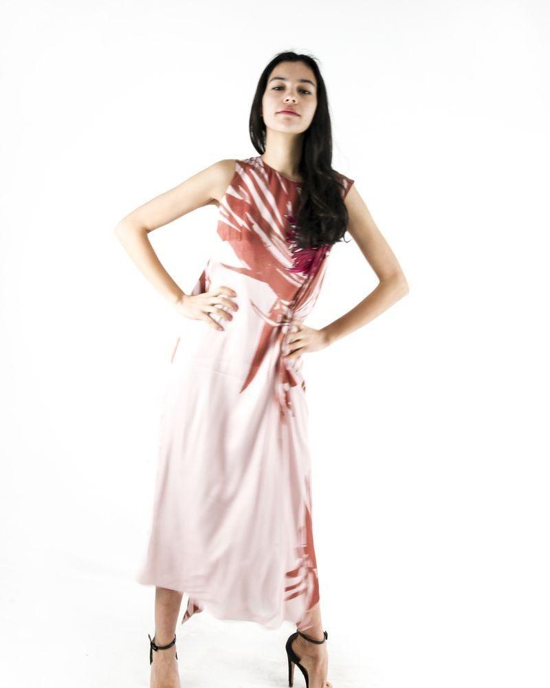 Robe longue rose à imprimé floral Maria Grazia Severi