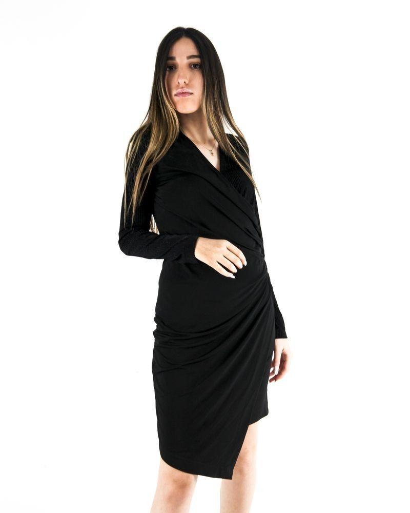 Robe bi-matières noir drapée lamée Nenette