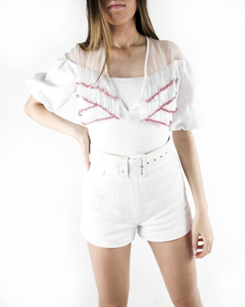 Combi-short en tweed blanche à franges perlées Elisabetta Franchi
