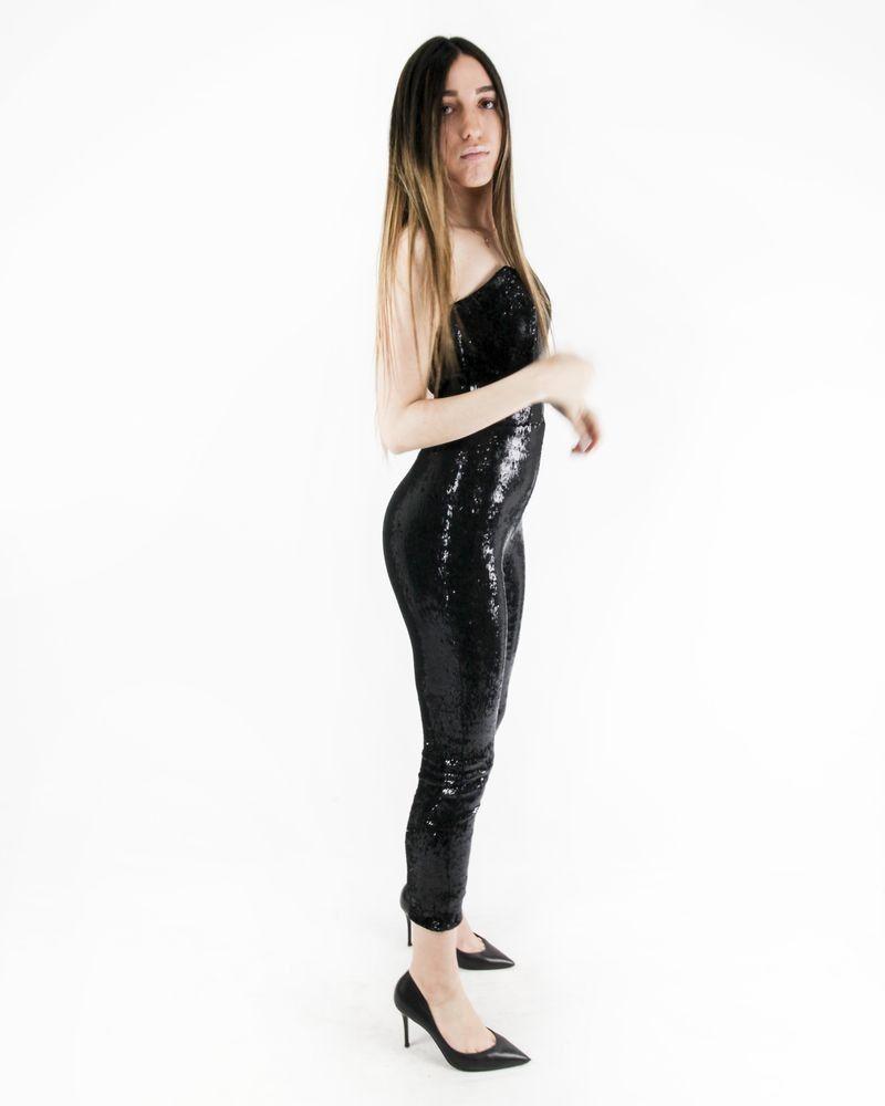 Combinaison bustier noir à sequins Simona Corsllini Femme