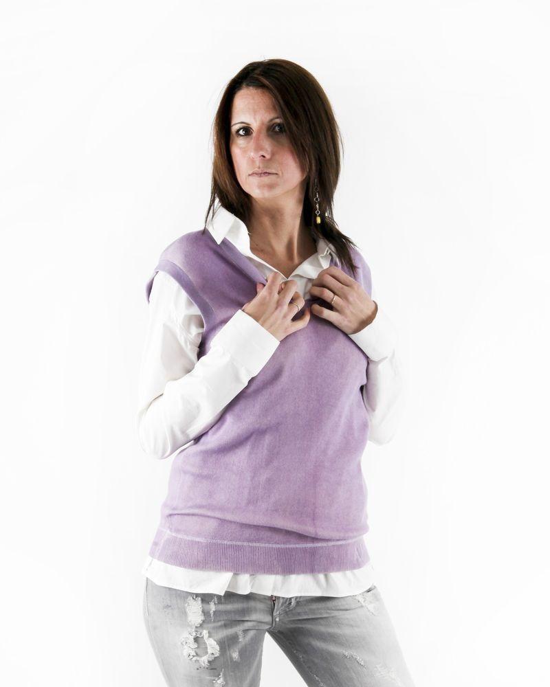 Pull sans manches en maille violette Armani
