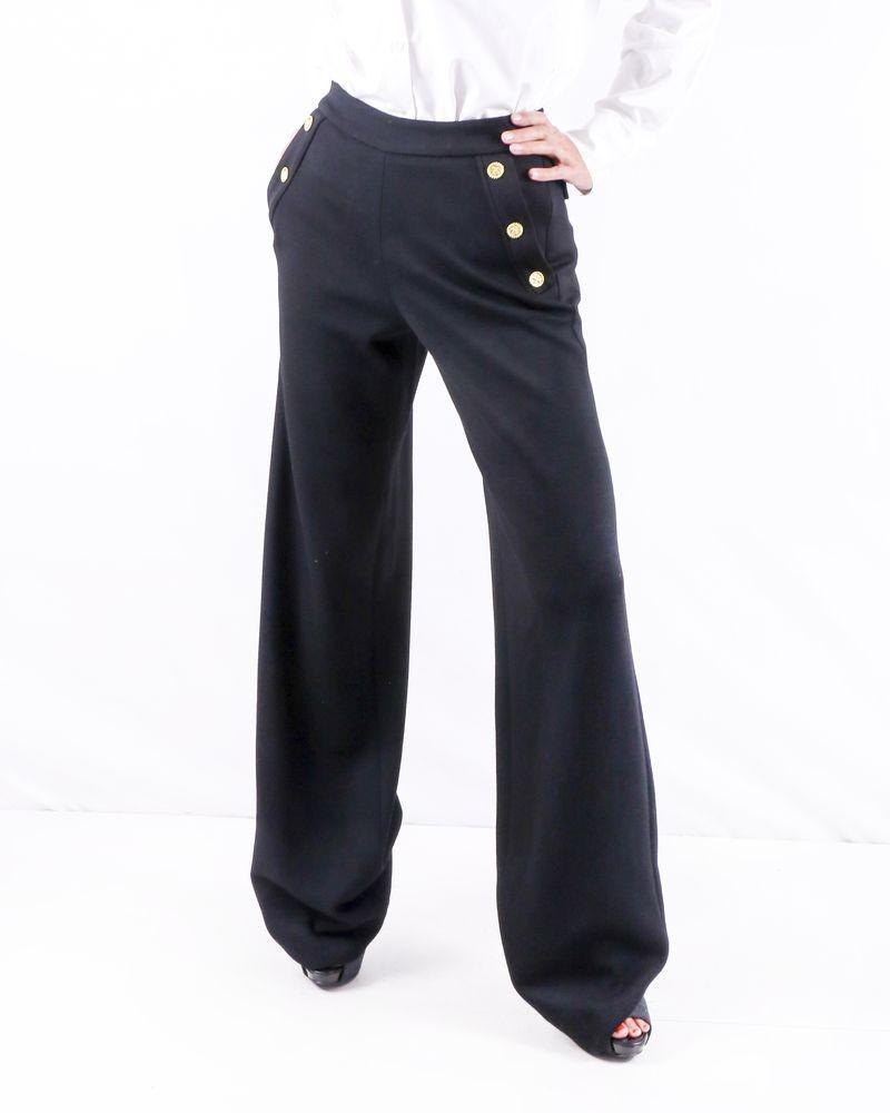 Pantalon patte d'eph noir en laine vierge Edward Achour