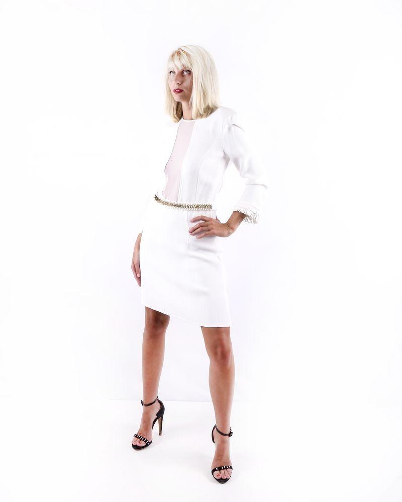 Robe blanche à ceinture dorée Elisabetta Franchi