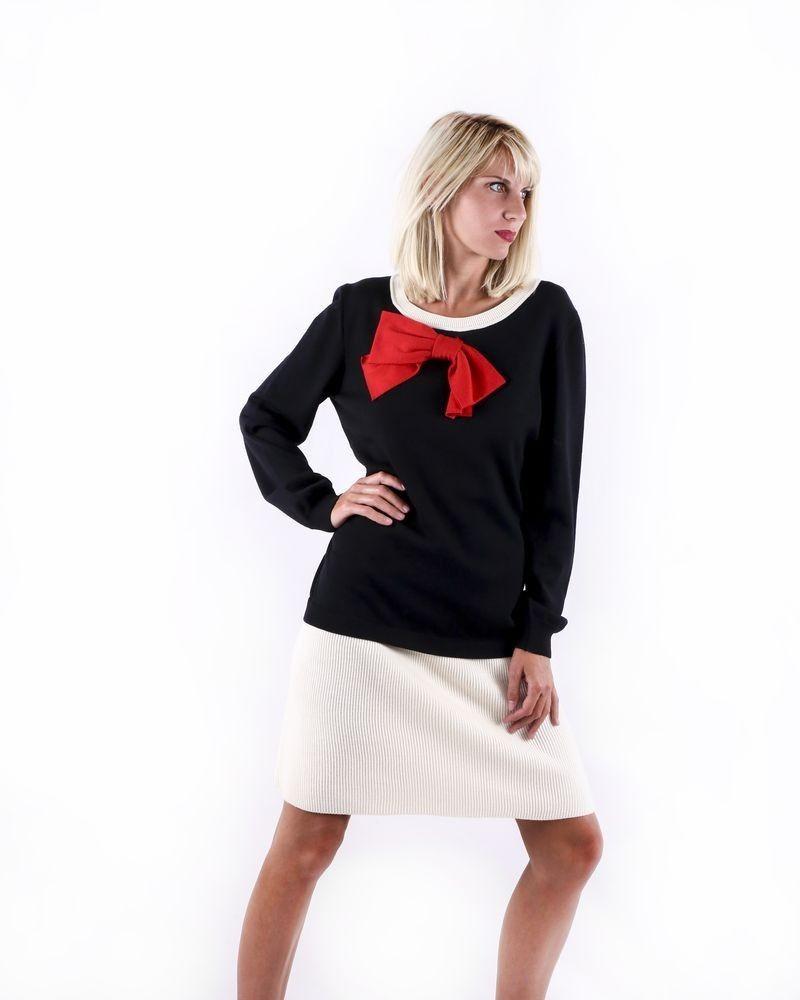 Robe tricolore en laine à noeud