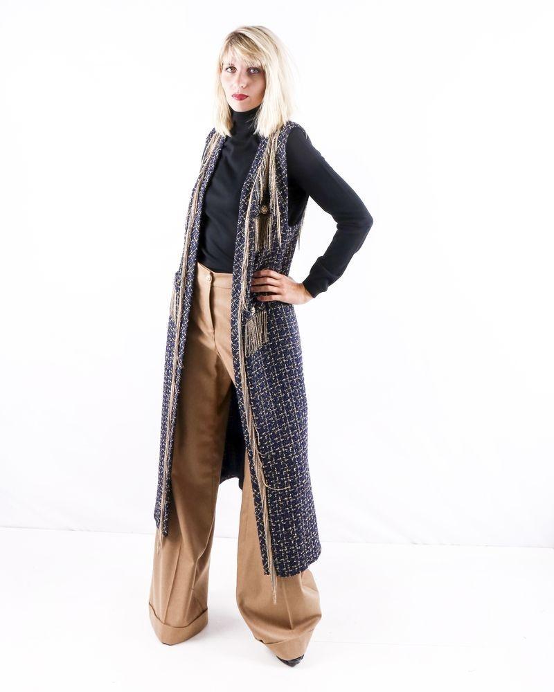 Veste longue en tweed bleu Edward Achour