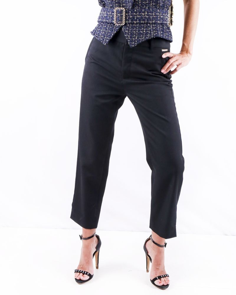 Pantalon noir fendu Galiano