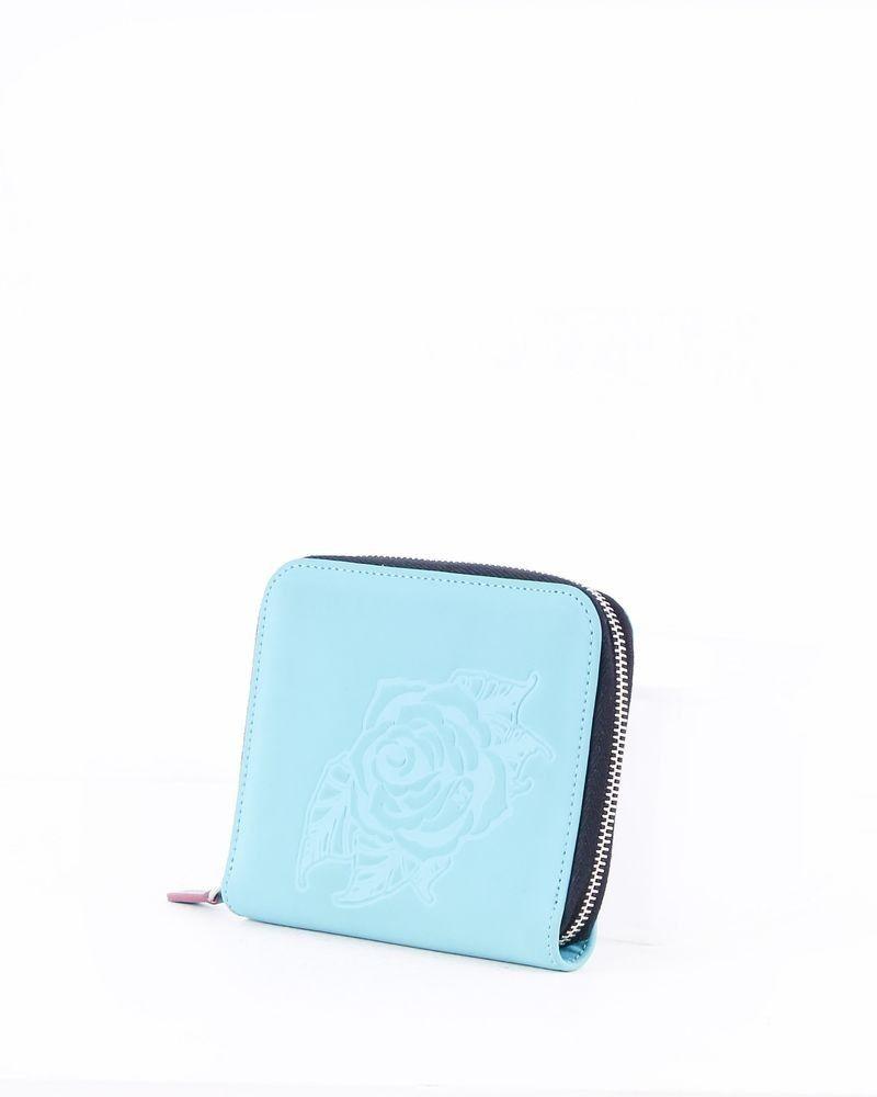 Portefeuille en cuir bleu à fleurs fantaisies Versace