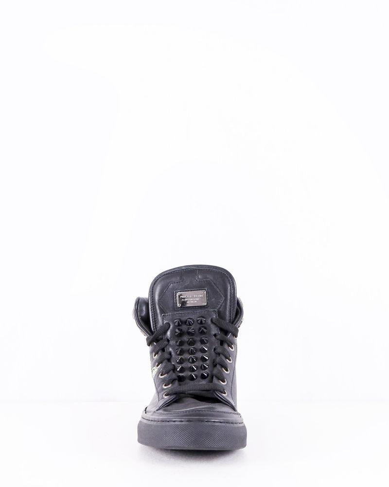 Baskets en cuir noirs à motifs fantaisies Philipp Plein