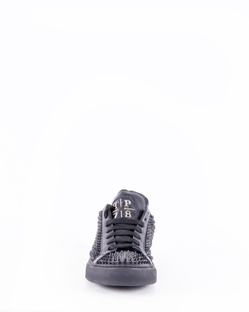 Baskets en cuir noirs cloutés Philipp Plein