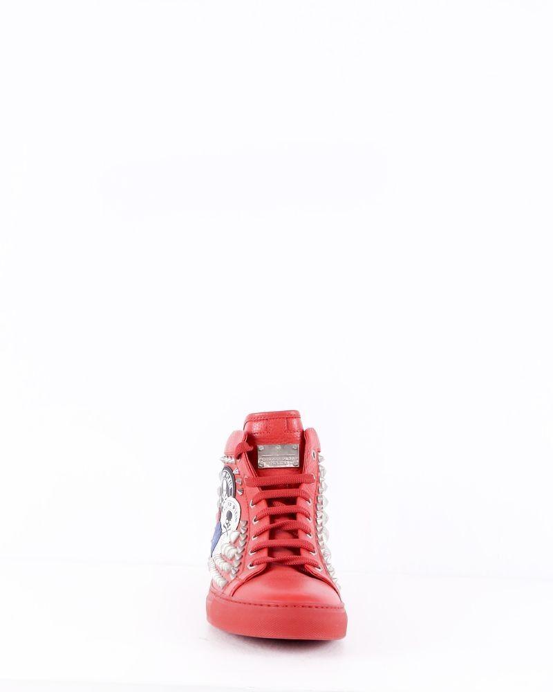 Baskets montantes en cuir rouge cloutés Philipp Plein