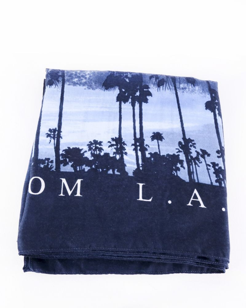 Foulard en coton bleu à imprimés fantaisies Guess