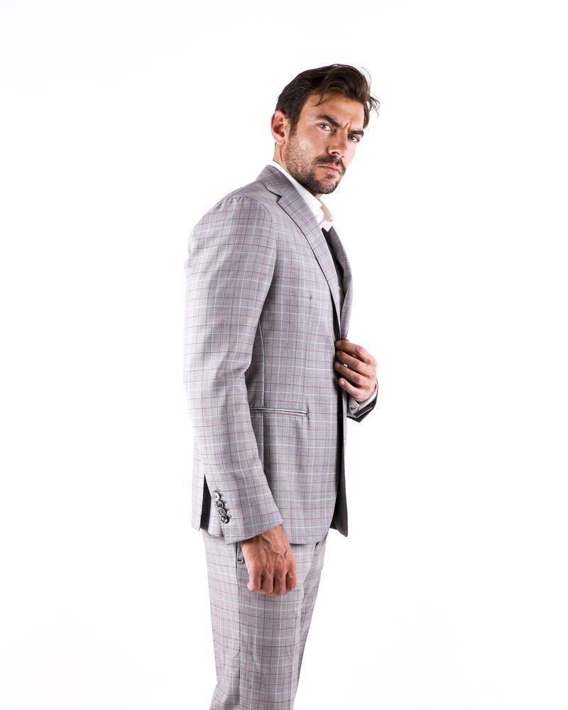 Costume 2 pièces en laine gris à carreaux Roda