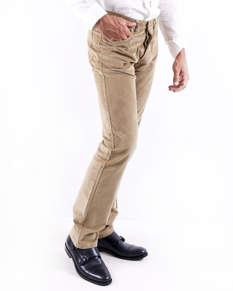 Pantalon en velours côtelé beige Editions M.R