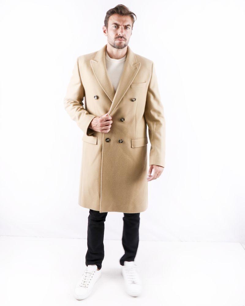 Manteau cintré en laine beige Editions M.R