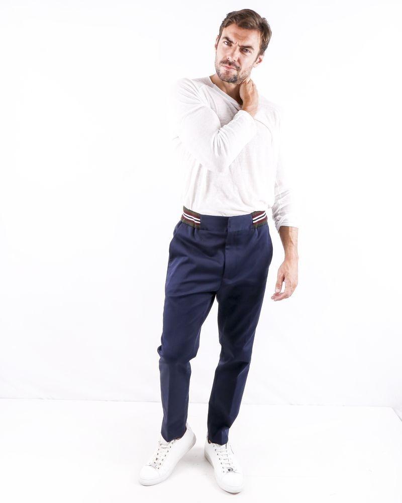 Pantalon tailleur bleu à ceinture tricot Ly Adams