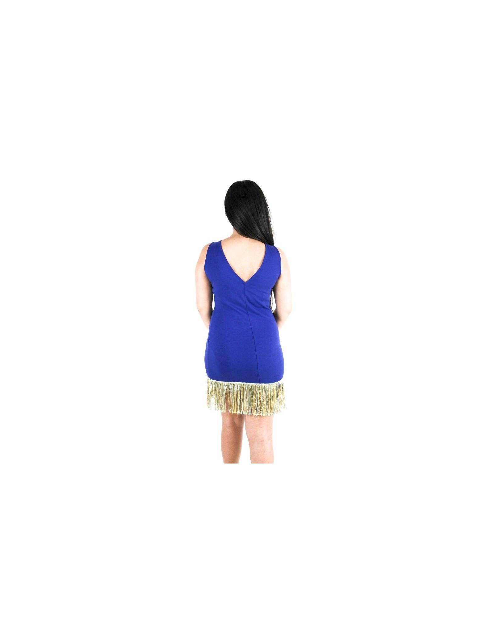 Robe en coton bleu frangé Jijil