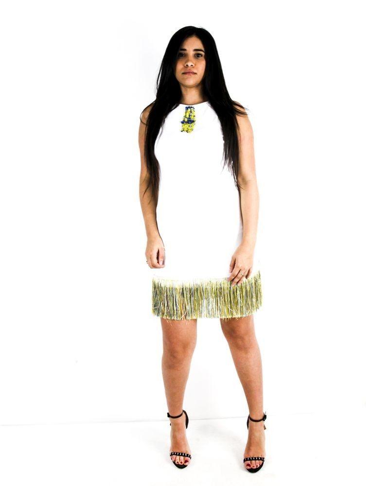 Robe en coton blanc frangé Jijil
