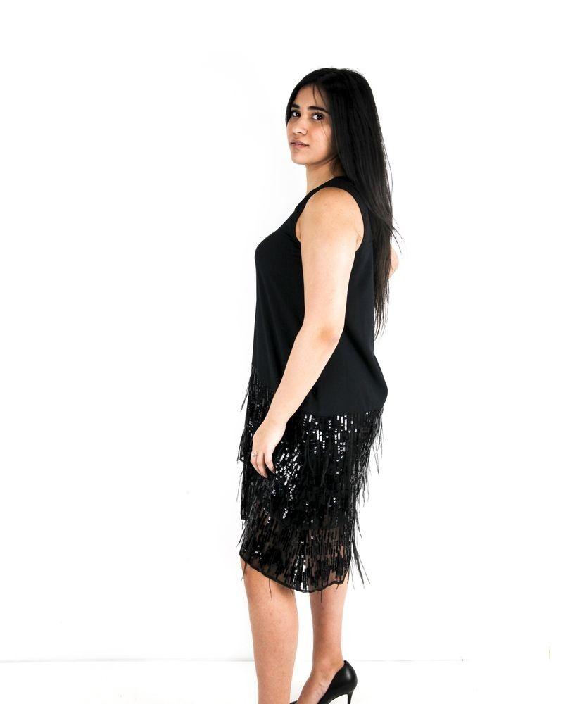 Robe en mousseline noir à sequins et plumes L'Edition