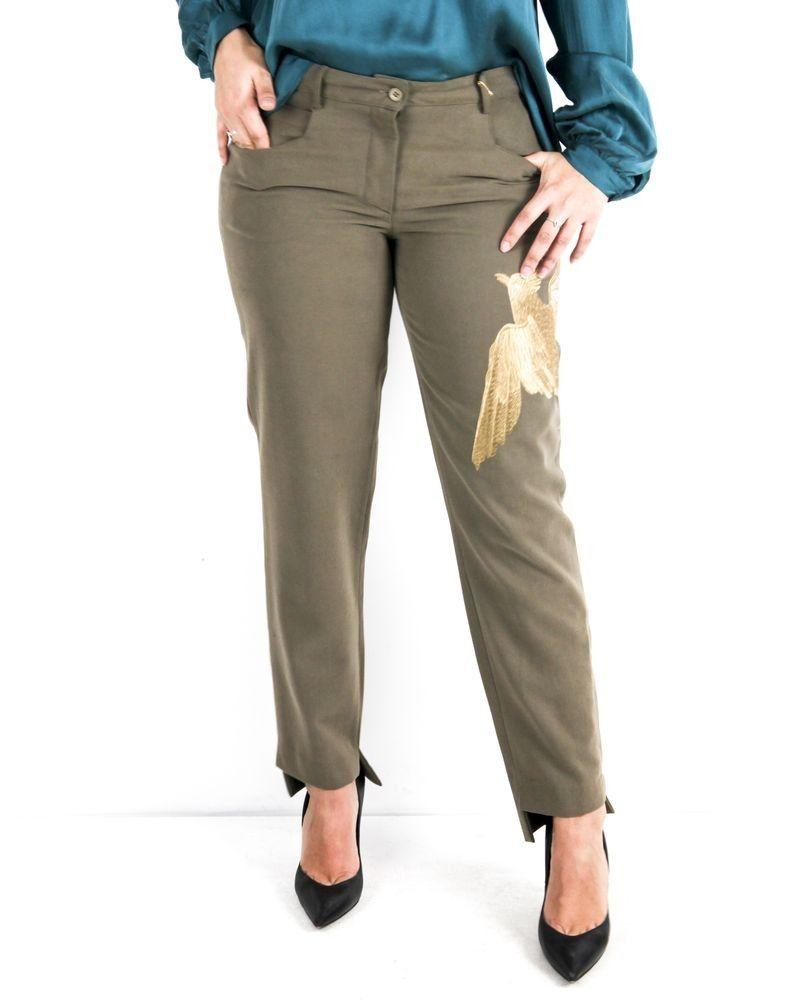 Pantalon en laine beige à broderies oiseaux L'Edition