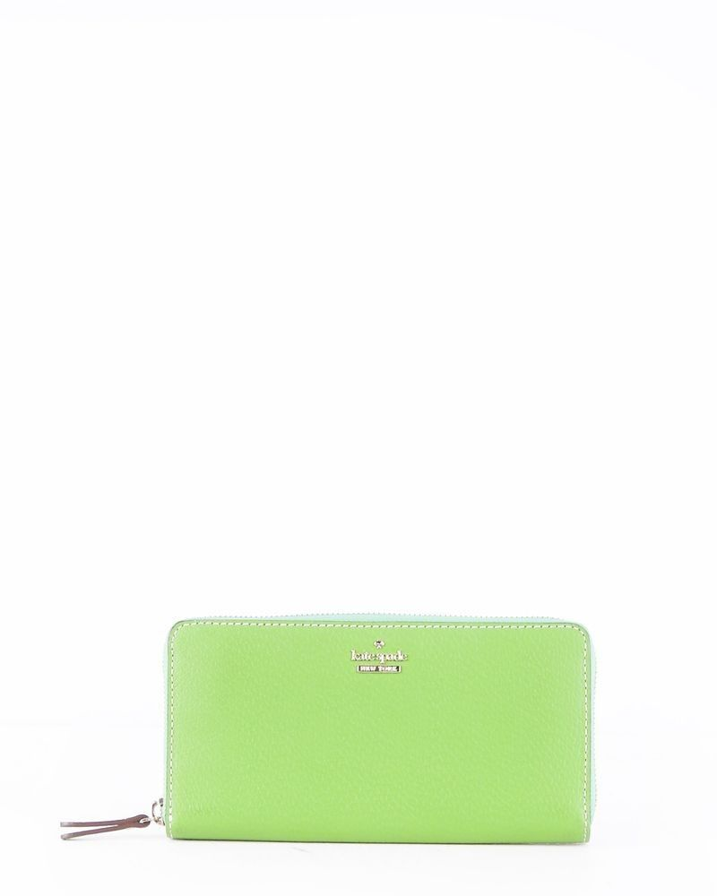 Portefeuille en cuir grainé vert Kate Spade