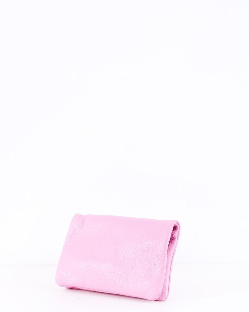 Pochette en cuir grainé rose Coccinelle