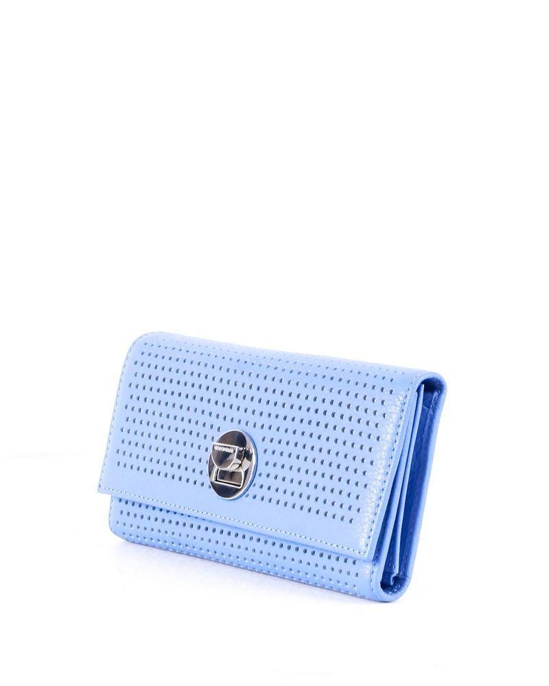 Portefeuille en cuir piqué bleu Coccinelle