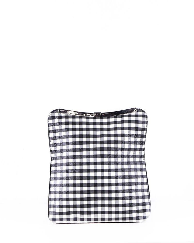 Pochette géométrique en cuir bicolore à carreaux Coccinelle