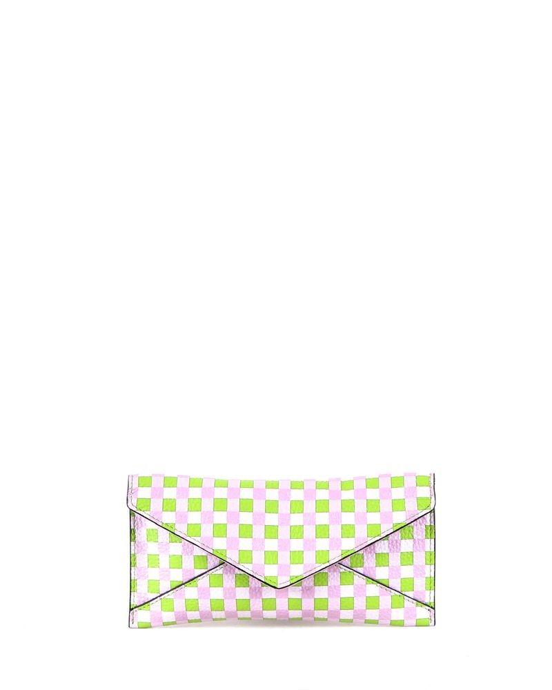 Pochette façon enveloppe à imprimés géométriques tricolores Coccinelle