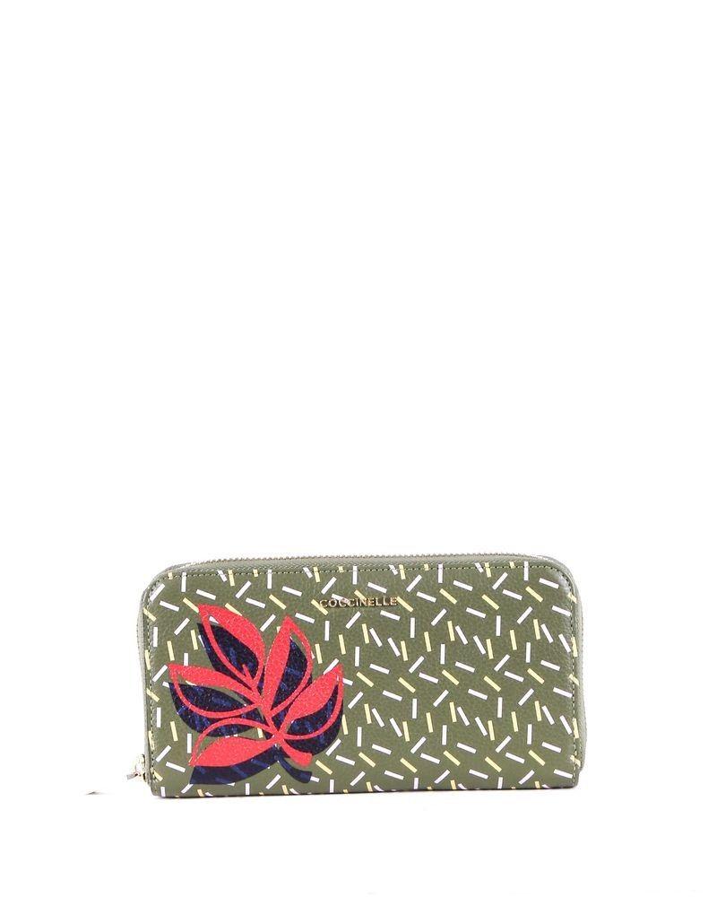Portefeuille en cuir vert à motifs fantaisies Coccinelle