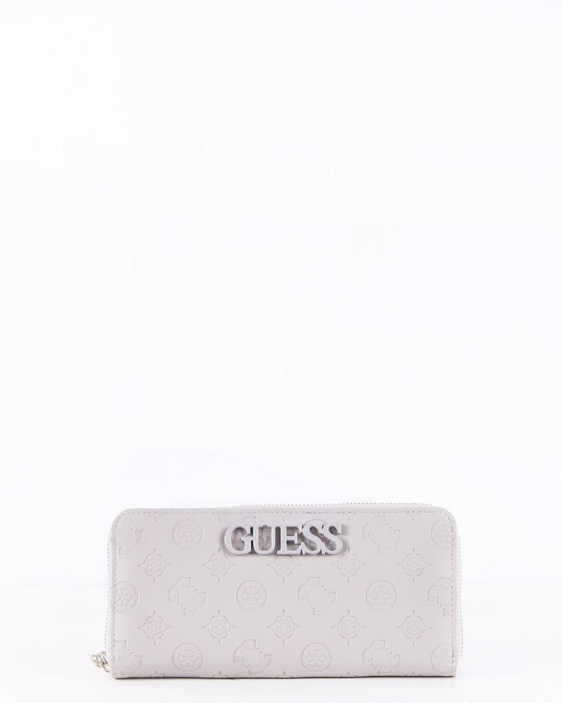 Portefeuille en cuir gris à logo Guess