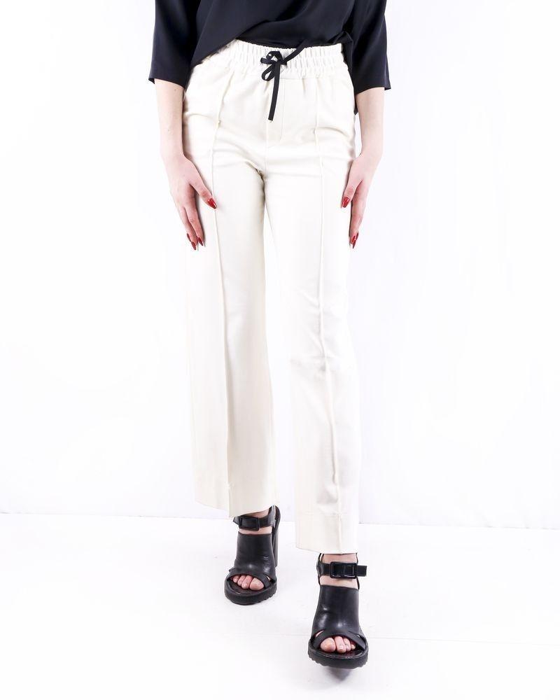 Pantalon palazzo en crêpes blanches John Galliano