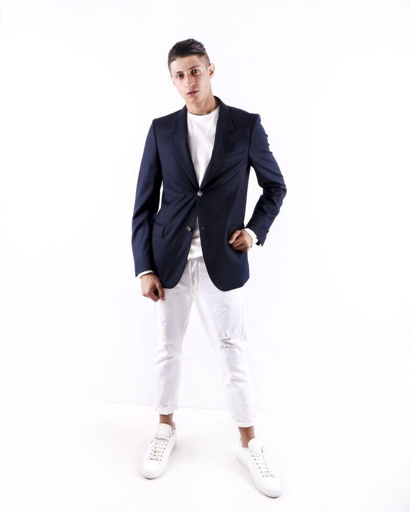 Veste en laine bleue chinée Edition M.R