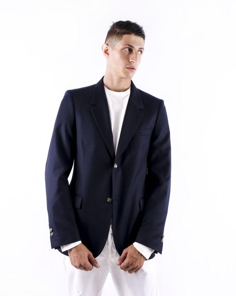 Veste en laine bleu chiné Edition M.R