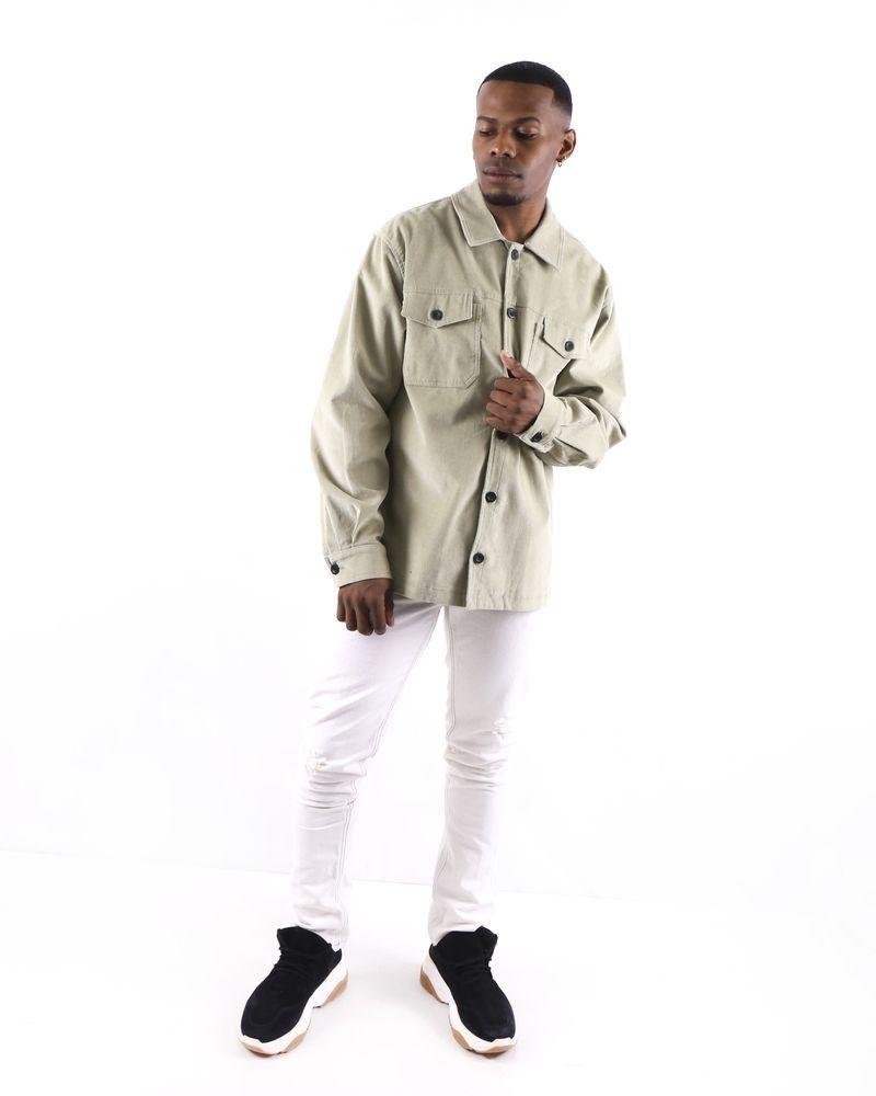 Veste façon chemise en velours côtelé vert pastel Edition M.R